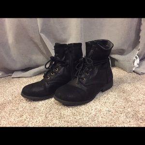 Kids Girls Ankle Black Boot